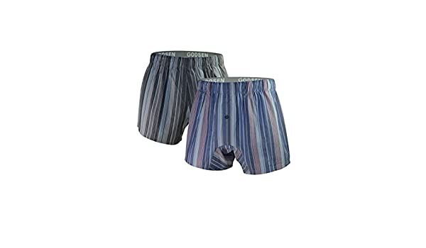 8121813-Blue-XXL Blue Xxl Godsen Mens Cotton Elastic Stripe Boxer Short,sport Short