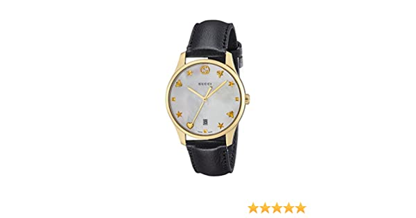 Amazon.com: Gucci G-timeless Mother of Pearl Dial Mens Leather Watch YA1264044: Watches