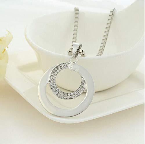 FidgetKute Plated Double Circle Rhinestone Long Link Chain Necklace