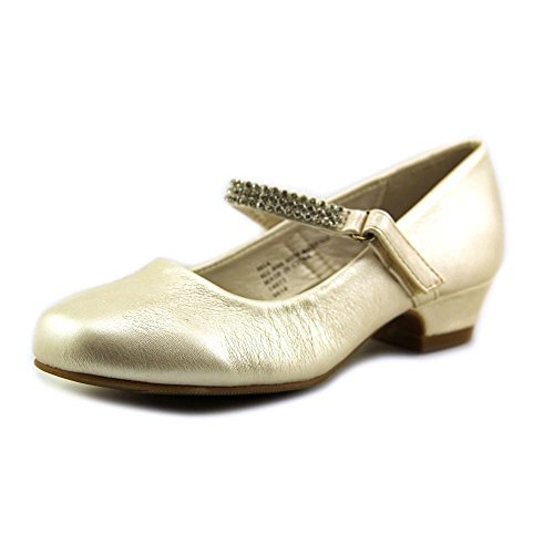 Swea Pea & Lilli Girl's Low Heel Girls Dress Shoe with Rhinestone Strap Ivory 1 -