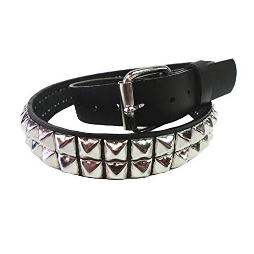 Bullet 69 2 Row Small Pyramid Stud Black Leather Rocker Biker Belt Size ()