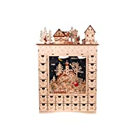 """Clever Creations Village Advent Calendar from 24 Day Diorama Wooden Christmas Countdown 