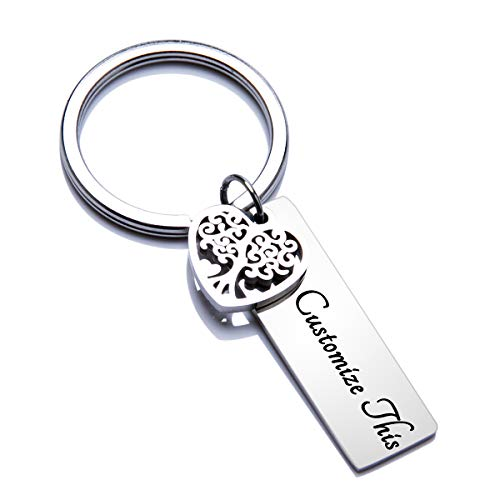 Fanery Sue Personalized Custom Rectangular Name Keychain Heart Tree of Life Charm Key Tags Keyring Engraved Message ID -