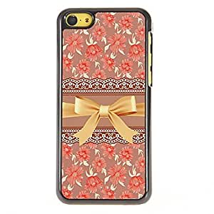 GJY Gorgeous Gold Bowknot with Roses Pattern PC Hard Case with 3 Packed HD Screen Protectors for iPhone 5C