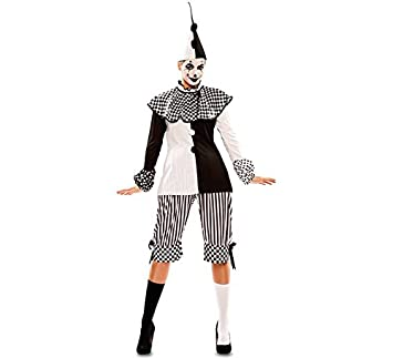 28d20438e388 EUROCARNAVALES Damen Kostüm Harlekin Pepi Schwarz Weiß Clown Pierrot  Karneval Fasching (38)  Amazon.de  Spielzeug