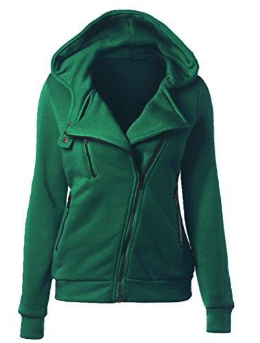 Outerwear Donna Cappotto Verde Felpa Colore Con Manica Cappuccio Solido Sweatshirt Autunno Vogstyle Lunga Di 8FBnwqUU