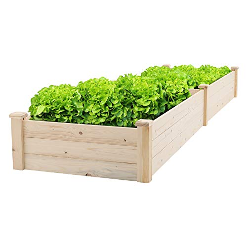 - Solaura Outdoor 8 ft Wooden Planting Garden Bed Elevated Planter Box Kit Grow Vegetable/Flower/Herb Gardening, Natural