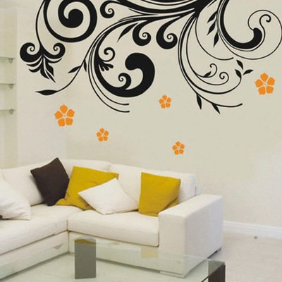 Amaonm Removable PVC DIY Nursery Flowers and Flower Vines Fashion Home Wall Decoration Wall Decor Stickers Wall Decals for Living Room Girls Bedroom Wall Corner Offices Background Decorations (Black)