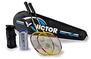 VICTOR Badmintonschläger Badminton Set 2x AL-2200, Racketbag, 3x Nylonball,...