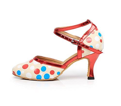 JSHOE Womens Latin Dance Fermé Orteil Talon Haut Salsa / Tango / Chacha / Samba / Moderne / Jazz Chaussures Sandales,A-heeled7.5cm-UK5/EU37/Our38