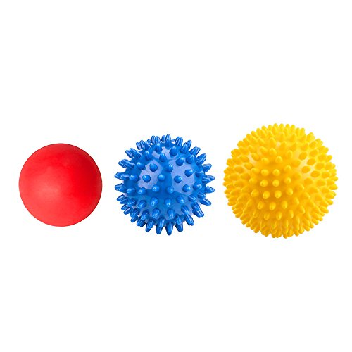 VANWALK Spiky Massage Ball Roller and Lacrosse Balls 3 Pack Foot/ Back/Neck/Hand Tissue Massage and Yoga Massager Tools Improve Reflexology, Myofascial Release, Plantar Fasciitis Pain Relief