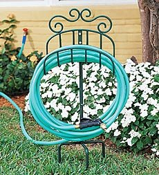Amazoncom Wrought Iron Portable Hose Holder with Stake in Green