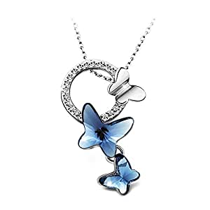 "T400 Jewelers ""Dream Chasers"" Swarovski Elements Crystal Butterfly Pendant Necklace with Platinum Plated, 16"" Love Gift"