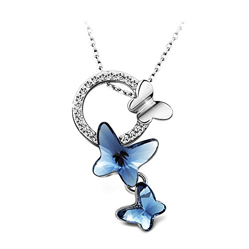 T400 Blue Purple Pink Butterfly Pendant Necklace Made with Swarovski Elements Crystal♥ Birthday Gift for Girls ()