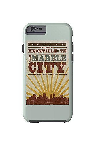 Knoxville, Tennessee - Skyline and Sunburst Screenprint Style (iPhone 6 Cell Phone Case, - Images Knoxville
