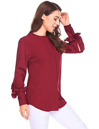 Red Silk Ruffle Sleeve Top (Bulges Women Long Bell Sleeve Blouse Loose Trumpet T-Shirt Casual Solid Flare Tops Wine Red XXL)