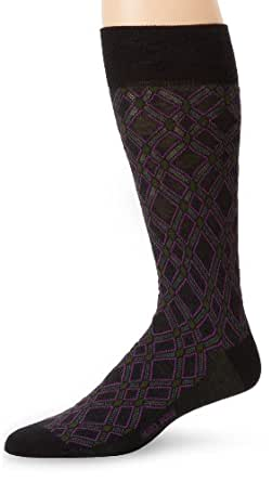 BOSS HUGO BOSS Men's Diamond Pattern Dress Sock, Black, One Size