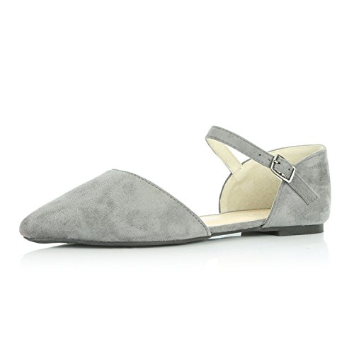 Casual Ballerina - DailyShoes Women's Pointy Toe Flats D'Orsay Buckle Ankle Strap Casual Comfort Ballerina Ballet Flat Shoes, Grey Suede, 6.5 B(M) US