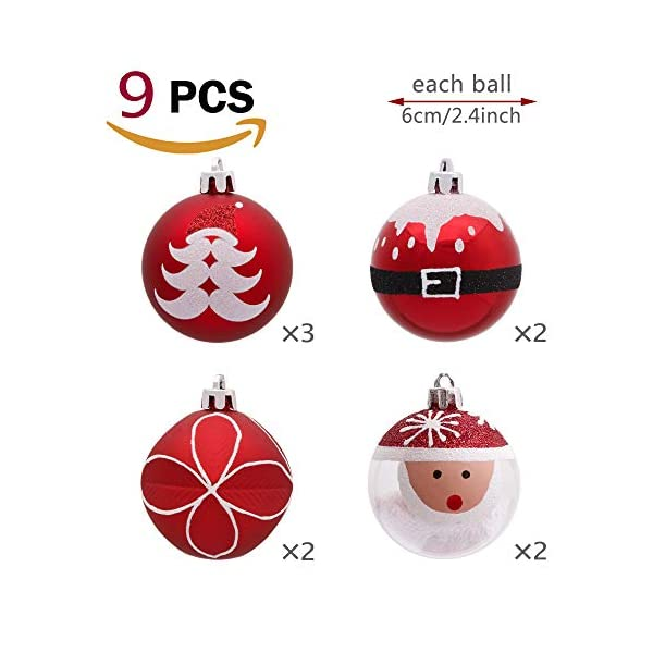 Valery Madelyn Palle di Natale 9 Pezzi 6cm Addobbi Natalizi, Traditional Red And White Shatterproof Christmas Ball Ornaments Decoration for Christmas Tree Decor 3 spesavip