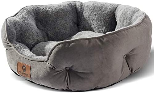 Asvin Small Dog Bed & Cat Bed, Round Cushion...