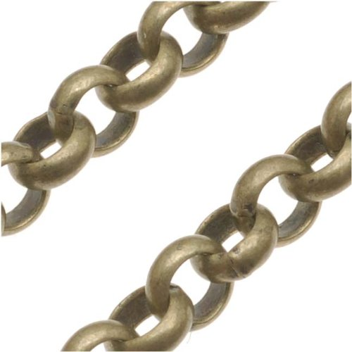 - Beadaholique Antiqued Brass Round Rolo Chain - 5.7mm Diameter - Sold by The Foot