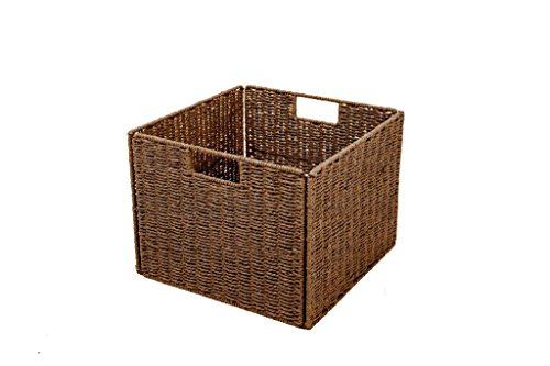 "Trademark Innovations Foldable Storage Basket with Iron Wire Frame - Each basket measures 13""L x 13""W x 10""H Made from paper rope over a sturdy iron wire frame Folds flat for easy storage - living-room-decor, living-room, baskets-storage - 41vvV9kSr%2BL -"