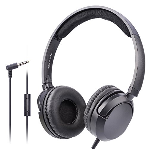 Avantree Superb Sound Wired On Ear Headphones with Microphone, 1.5M / 4.9FT Long Cord with Mic for Adults, Students, Kids, Comfortable Headsets for Computer, Laptop, Tablet, Phone - 026 ()