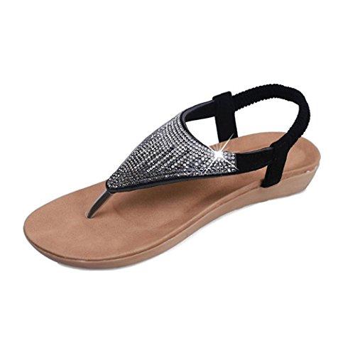 DDLBiz Women's Bohemian Flat Sequins Shoes Bandage Leisure Sandals Casual Shoes (US:6(9.1''-9.3