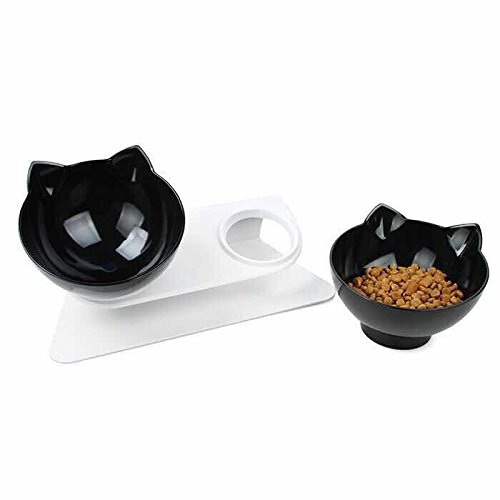(Laifug Elevated Double Cat Bowl,Pet Feeding Bowl | Raised The Bottom for Cats and Small Dogs (Set of 2, Black) ...)