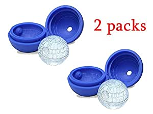 Bessmate 2-Pack Star Wars Death Star Silicone Sphere Ice Ball Maker Mold,Ice Mold Tray