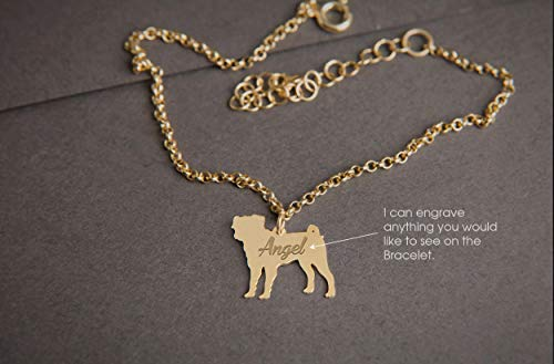 (PUG Personalised Tiny Silver Bracelet - Pug Bracelet - 925 Sterling Silver, Gold Plated or Rose Plated)