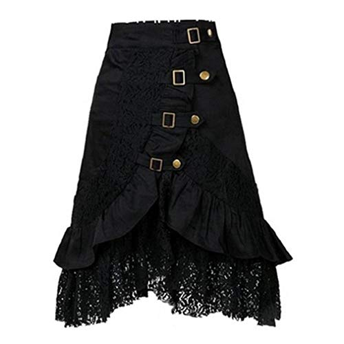 (LISTHA Retro Black Lace Skirt for Women Fashion Club Wear Gothic Punk Clothing Party)