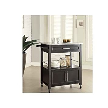 Superieur Wooden Kitchen Island Black Granite Top Storage Cabinet Portable Utility  Cart Rack Drawers
