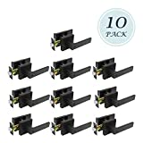Flat Style Heavy Duty Right Handing Commercial Lever Lock Front Door/Office Entrance Function Without Key Matte Black Finish 10 Pack 2.07 lb One Lever, Left or Right Handing