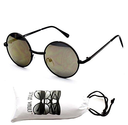 [Kd244-vp 'Kids' Child Tiny Small Round Lennon Sunglasses (SRV 3~12yrs Black-khaki)] (Round 3 Costumes)
