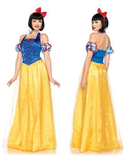 Costume Snow Plus White (Leg Avenue Disney 3Pc. Princess Snow White Costume Dress Sleeves and Bow Headband, Blue/Gold,)