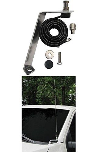 FORD F-150 Front Hood Antenna Mount For Amateur Ham Commercial and CB Two Way Antennas With Cable! Front Mount Antenna