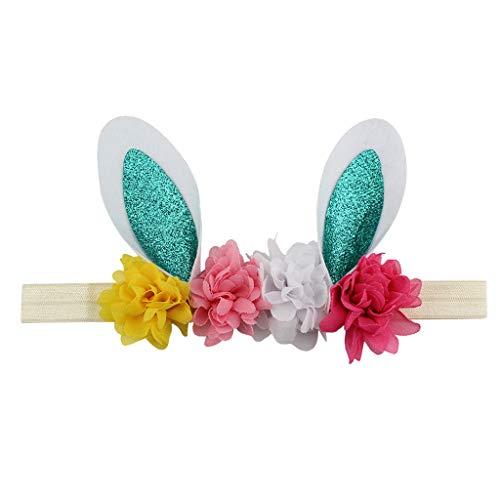 Easter Babies Rabbits Ear Shiny Sequin Headband Flower Decoration Hair Band Multicolor Hair Hoop (Multicolor -