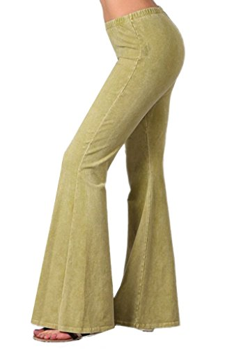 Zoozie LA Women's Bell Bottoms Stretch Pear Green 1X also fits 2X