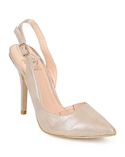 Wild Rose Women's Corine Pointy Toe Single Sole D'orsay Slingback Pump Sandal Shoe (8.5, Champaign) (4 Inch Stiletto Heel Slingback Sandal)