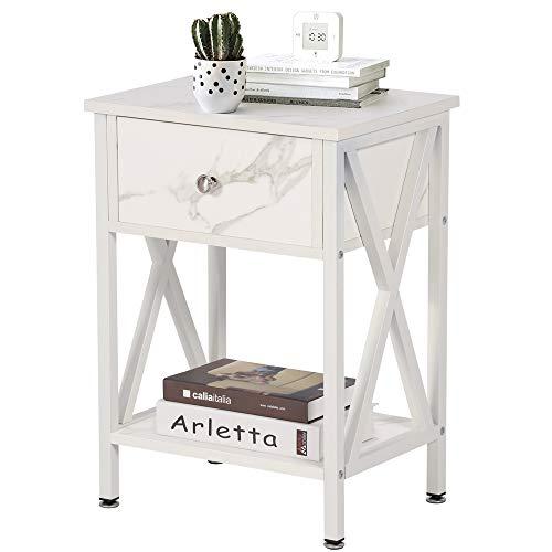 VECELO Versatile Nightstands X-Design Side End Table Night Stand Storage Shelf with Bin Drawer for Living Room Bedroom…