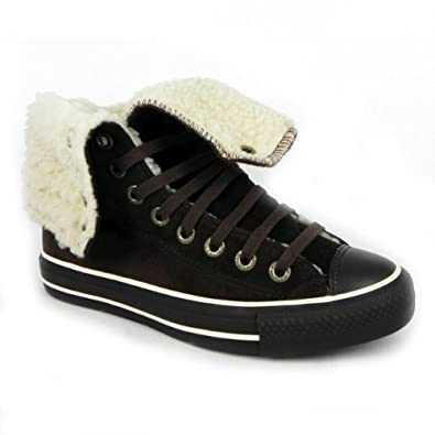 8ba02ae6ed71 Converse Womens X Hi Top Trainers Womens Fur Winter Boots  Amazon.co.uk   Shoes   Bags