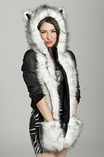 Halloween Cosplay Husky Animal Hood Party Costume with Paws and (Cat Ears Spirit Halloween)
