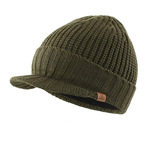 Home Prefer Men's Outdoor Newsboy Hat Winter Warm Thick Knit Beanie Cap with Visor (Army - Billed Large Visors