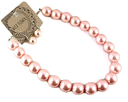Pearl Necklace w Drop Earring Set - Vintage Inspired - Imitation Pearl (Pink)