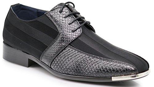 - JY2N Men's Satin Metal Silver Tip Oxfords Dress Shoes Stripes Church Wedding Party Groomsmen Oxfords Dress Shoes (13, Black_4)