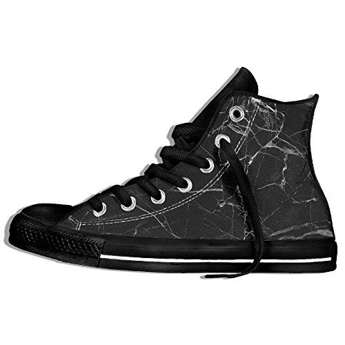 Zapatillas De Deporte Clásicas Altas Zapatos De Lona Antideslizante Negro Mármol Caminando Para Hombres Mujeres Negro