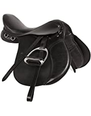 "ME Enterprises All Purpose Black Premium Leather English Riding Horse Saddle TACK GET Matching Leather Stirrup & Iron Stirrups Size 14"" to 18"" INCHES SEAT Available"