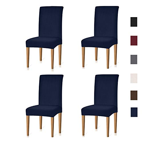 Xflyee Stretch Dining Room Chair Covers Jacquard Removable Washable Kitchen Parson Chair Slipcovers Set of 4 (Navy, 4 Pack)