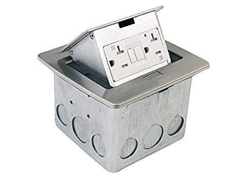 Lew Electric PUFP-CT-SS Countertop Box, Pop Up w/20A GFI Receptacle - Stainless ()